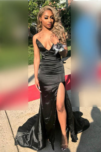 V-Neck Strapless Black Taffeta Mermaid Prom Dress With Thigh Split