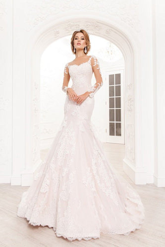 Lace Illusion Pink Long Sleeve Sweetheart Mermaid Wedding Dress