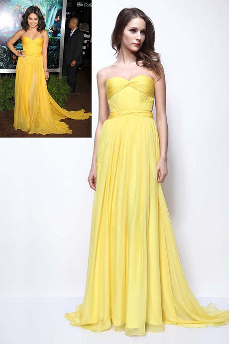 Yellow Chiffon Sweetheart Strapless Backless Celebrity Dress With Sweep Train