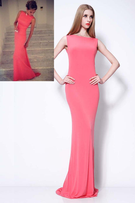 Watermelon Jersey Bateau Neck Bodycon Celebrity Dress With Sweep Train