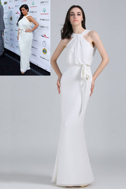 White Chiffon Floor-Length Sheath Celebrity Dress With Sash