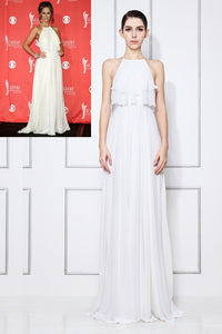 White Chiffon Halter Sweep Train Celebrity Dress With Ruffles
