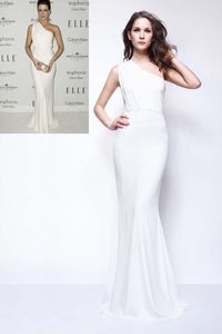 White Chiffon One-Shoulder Mermaid Celebrity Dress With Sweep Train