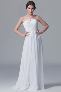 White Strapless Sweep Train Solid Ruched Sheath Chiffon Bridesmaid Dress
