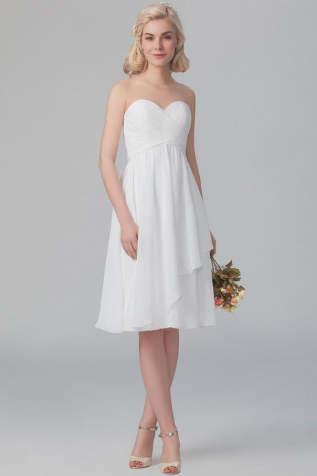 White Sweetheart Strapless Knee-Length Ruched Bridesmaid Dress