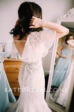 Sweetheart Cap Sleeve Lace Mermaid Wedding Dress With Beads