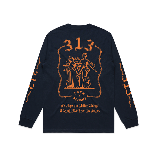 RISE FROM THE ASHES LONGSLEEVE TEE: NAVY BLUE
