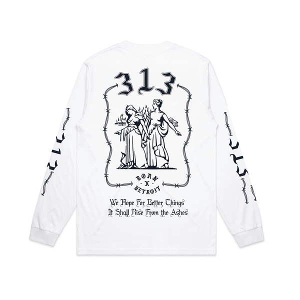 RISE FROM THE ASHES LONGSLEEVE TEE: WHITE