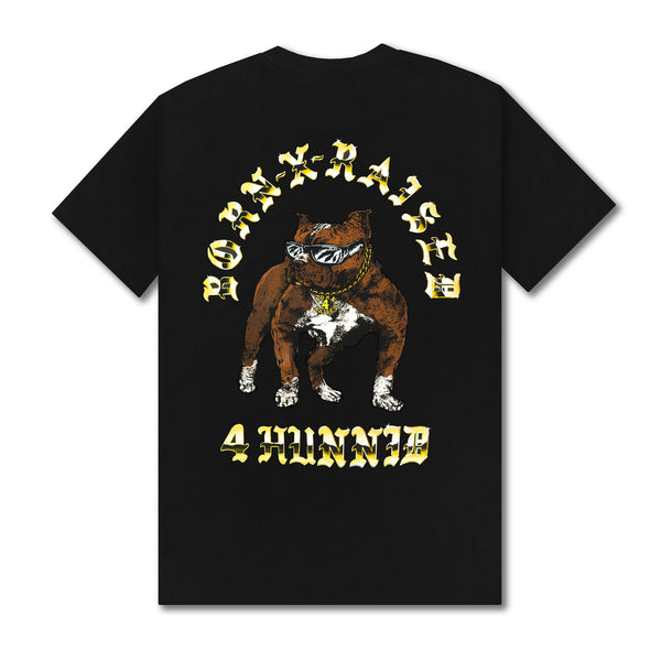 4HUNNID BOARDWALK SHARK TEE: BLACK