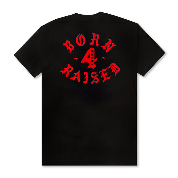 BORN 4 HUNNID ROCKER TEE: BLACK