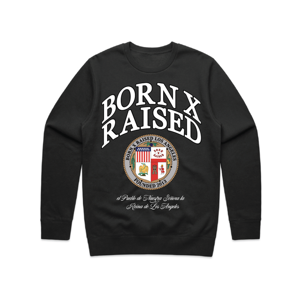 LA REINA DE LOS ANGELES CREW NECK SWEATSHIRT: BLACK