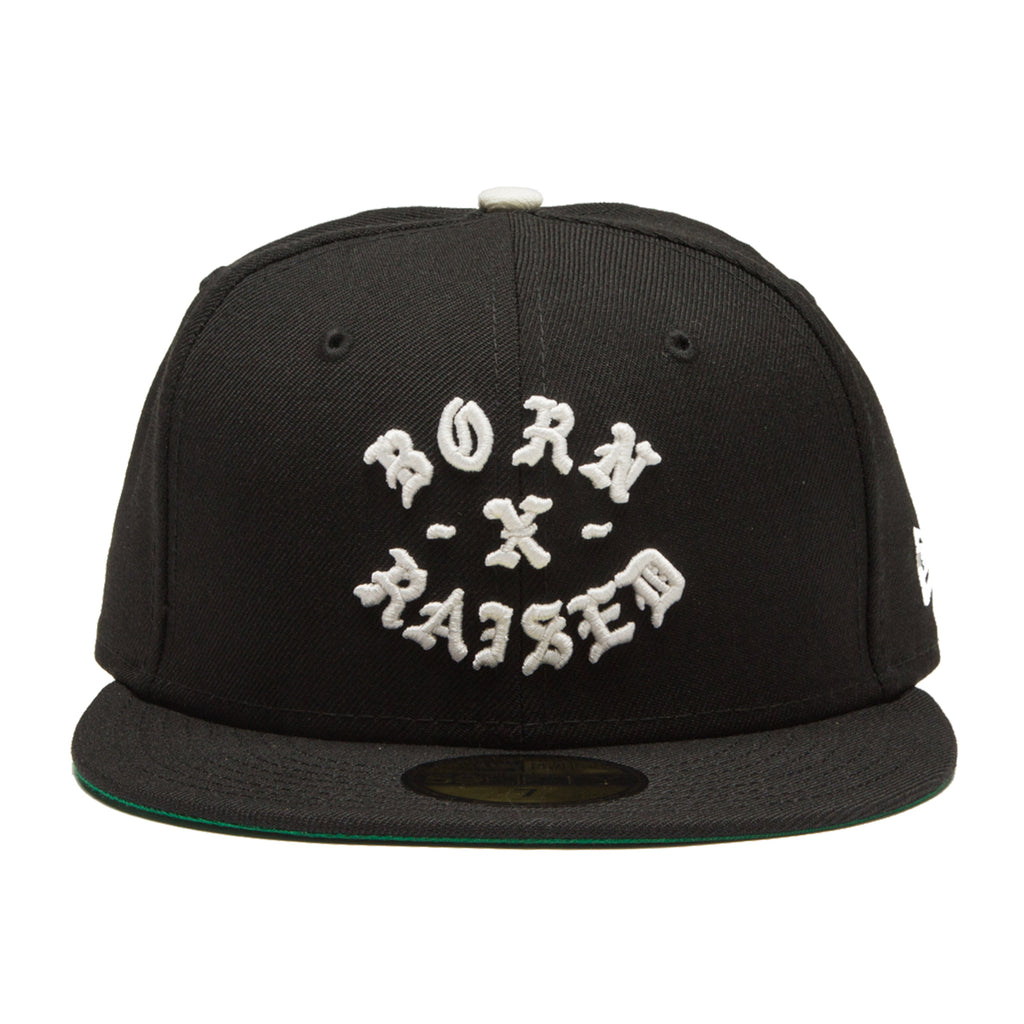 NEW ERA FITTED ROCKER HAT: BLACK/OFF WHITE