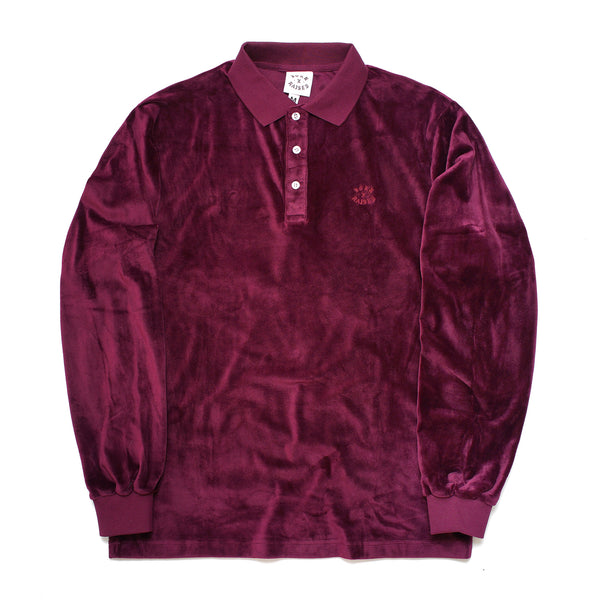 VELOUR SHIRT: BURGUNDY