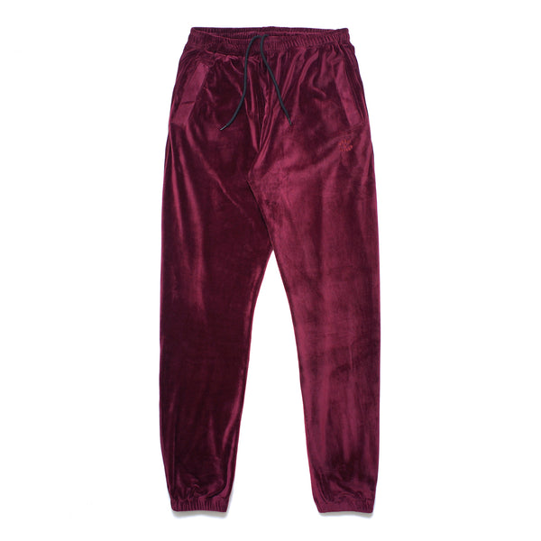 VELOUR PANTS: BURGUNDY
