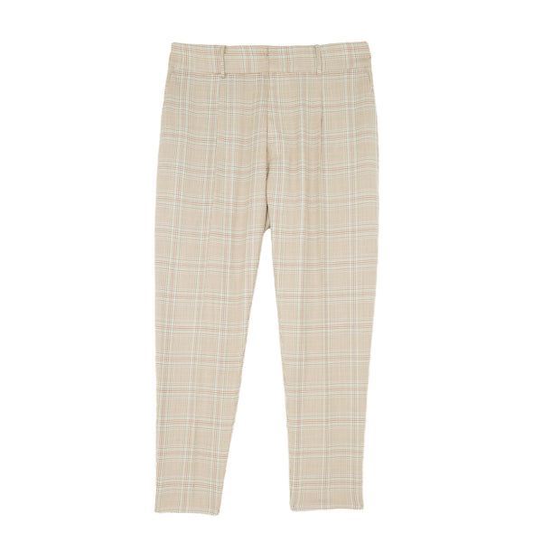 PLEATED SLACKS: ROSE PLAID