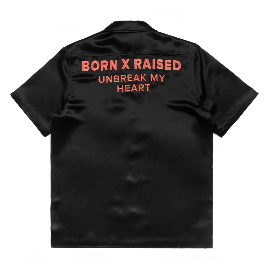 UNBREAK MY HEART SATEEN BUTTON UP SHIRT: BLACK