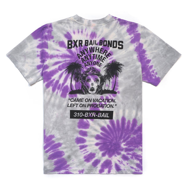 BXR BAIL BONDS T-SHIRT: PURPLE/GREY TIE DYE
