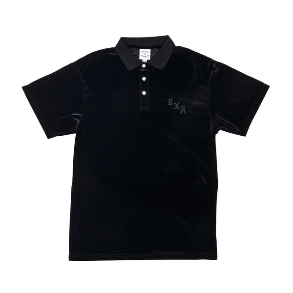 VELOUR SHORT SLEEVE POLO: BLACK
