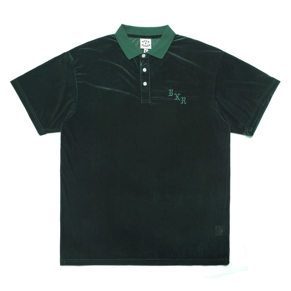 VELOUR SHORT SLEEVE POLO: DARK GREEN