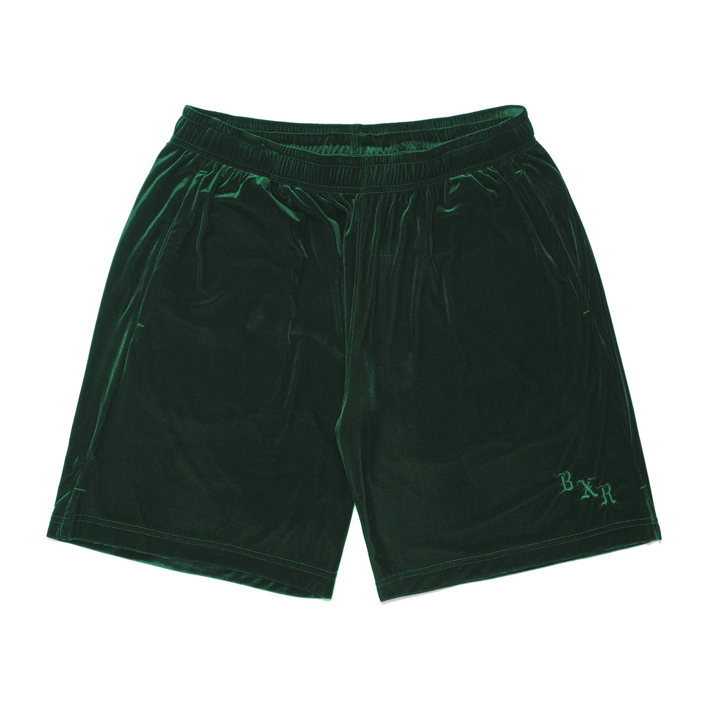 VELOUR SHORTS: DARK GREEN