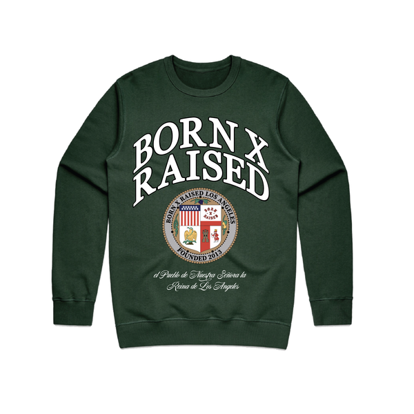 LA REINA DE LOS ANGELES CREW NECK SWEATSHIRT: GREEN