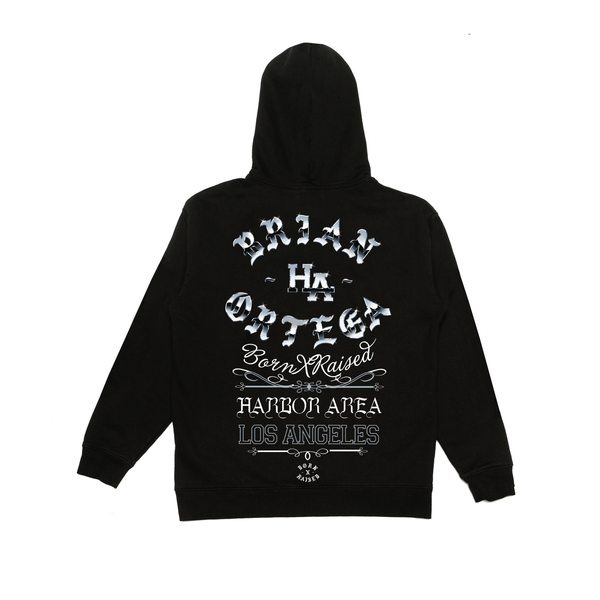 BRIAN ORTEGA + BORN X RAISED ROCKER HOODY: BLACK