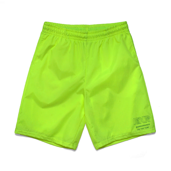 WIREFRAME NYLON SHORTS: NEON GREEN