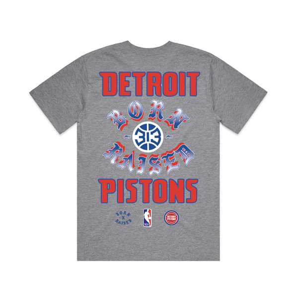 BORN X RAISED + PISTONS CHROME ROCKER TEE: GREY