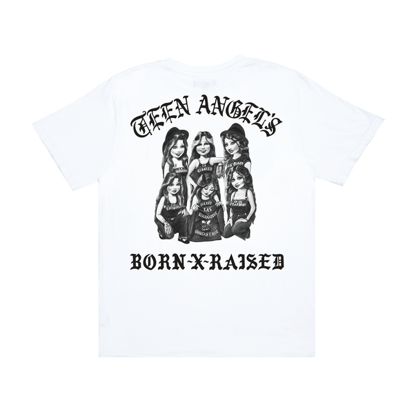 BORN X RAISED + TEEN ANGELS GIRLS TEE: WHITE