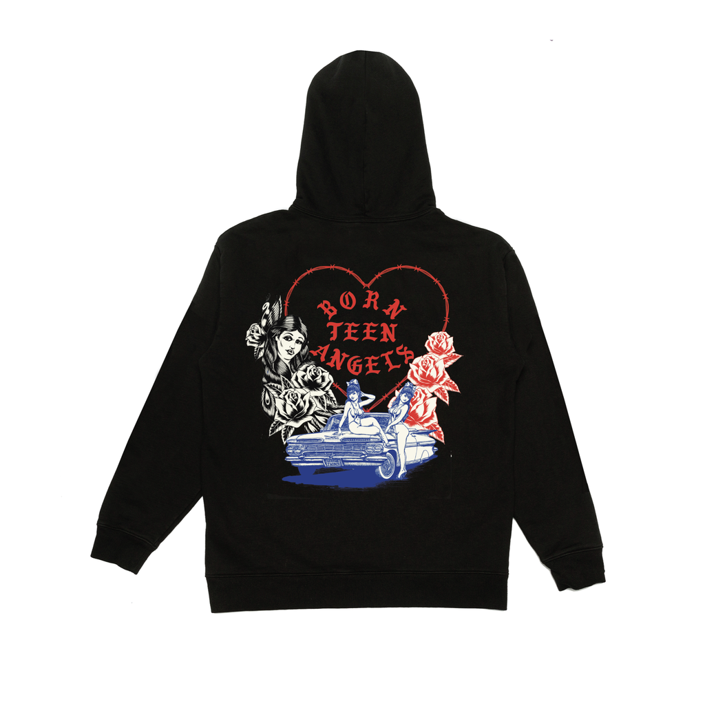 BORN X RAISED + TEEN ANGELS TWIN ANGELS HOODY: BLACK