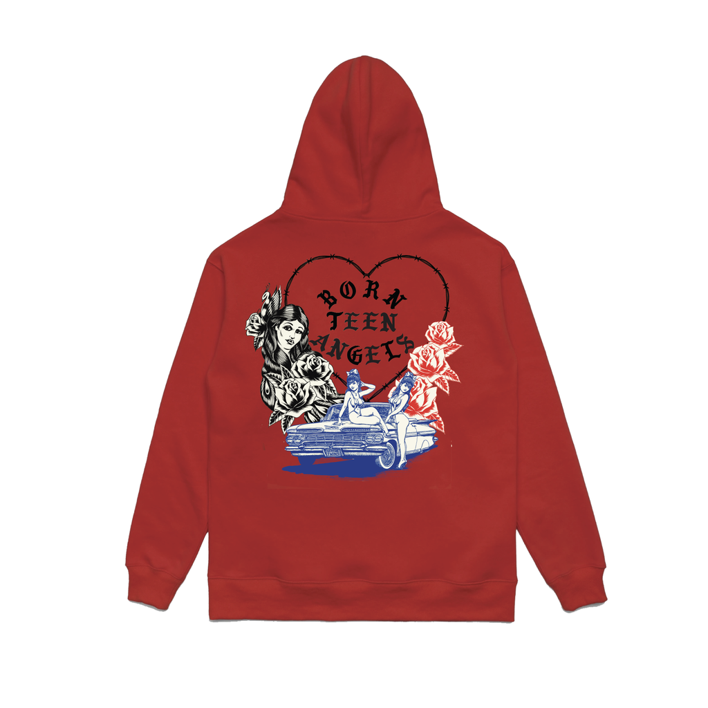 BORN X RAISED + TEEN ANGELS TWIN ANGELS HOODY: RED