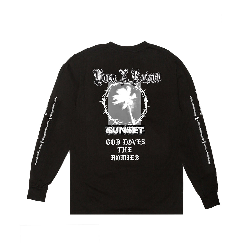 BORNXRAISED SUNSET LONGSLEEVE TEE: BLACK