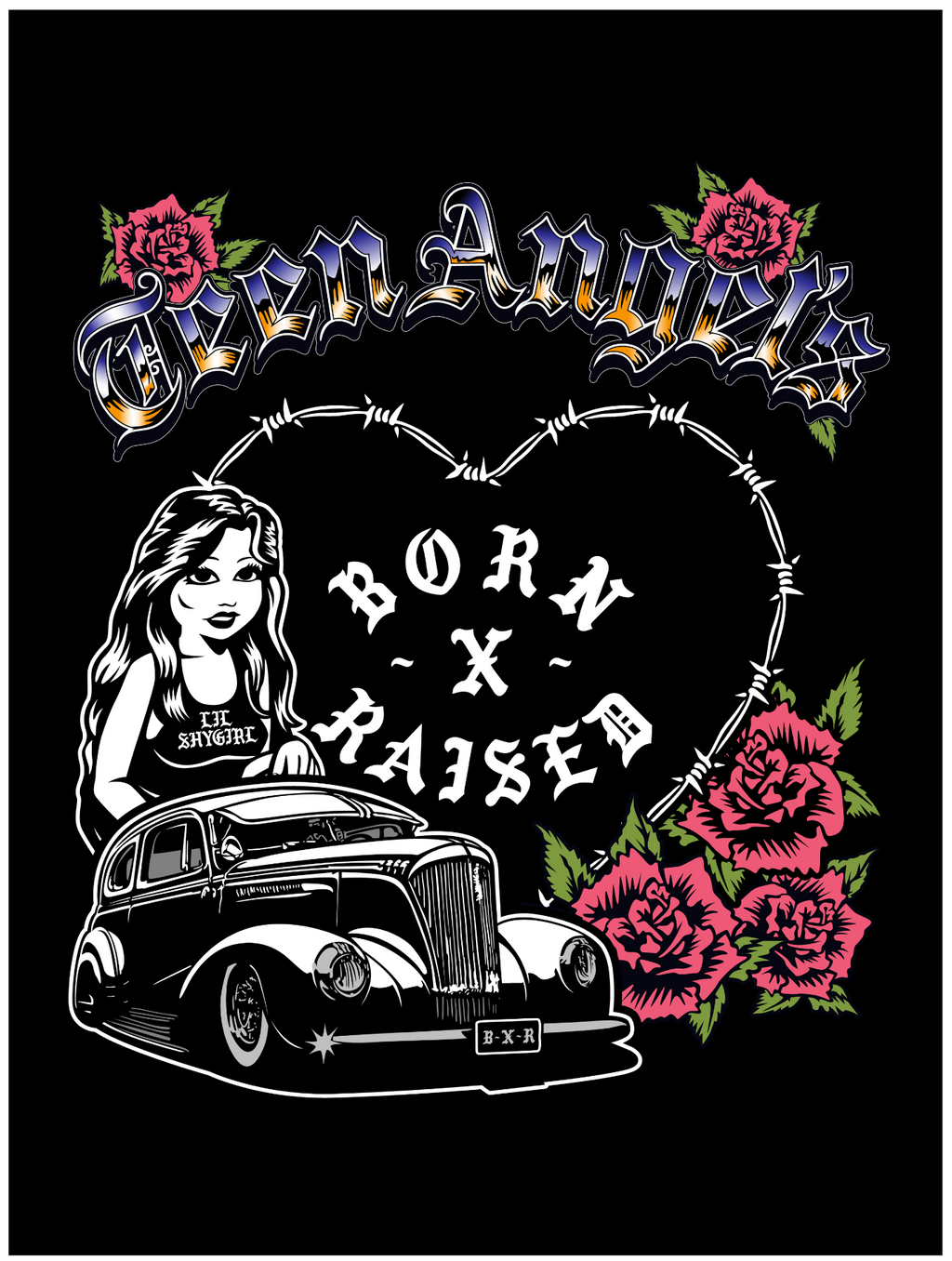 BORN X RAISED + TEEN ANGELS SHY GIRL PRINT