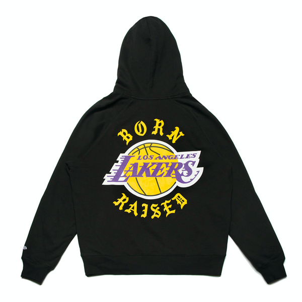 BORNXRAISED + LAKERS ROCKER HOODY: BLACK