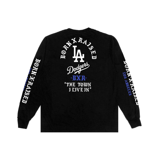 BORN X RAISED + DODGERS THE TOWN TEE L/S: BLACK