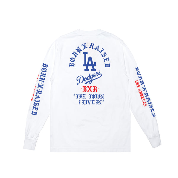 BORN X RAISED + DODGERS THE TOWN TEE L/S: WHITE