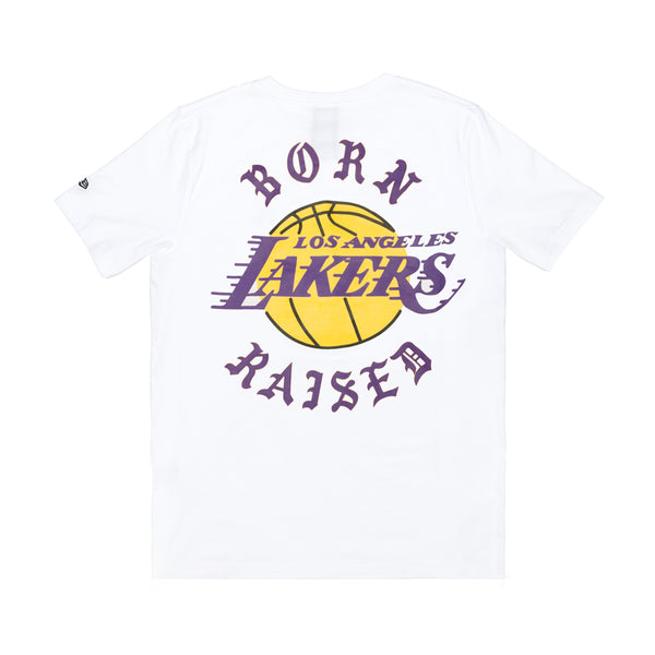 BORNXRAISED + LAKERS ROCKER TEE: WHITE