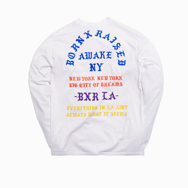 BORN X RAISED + AWAKE NY COAST TO COAST L/S TEE: WHITE