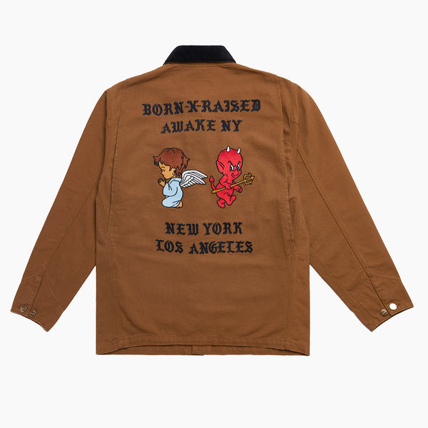 BORN X RAISED + AWAKE NY CARHARTT WIP CHORE COAT: BROWN