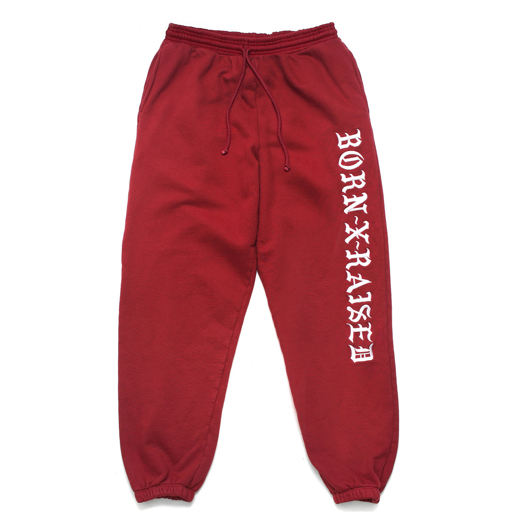 BXR EMBROIDERED SWEATS: BURGUNDY