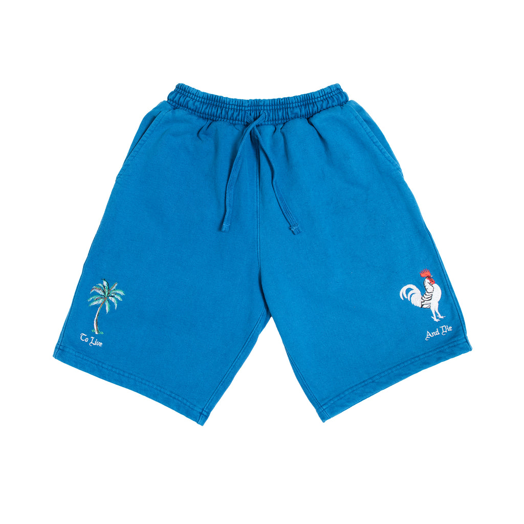 TO LIVE AND DIE SWEAT SHORTS: CLASSIC BLUE