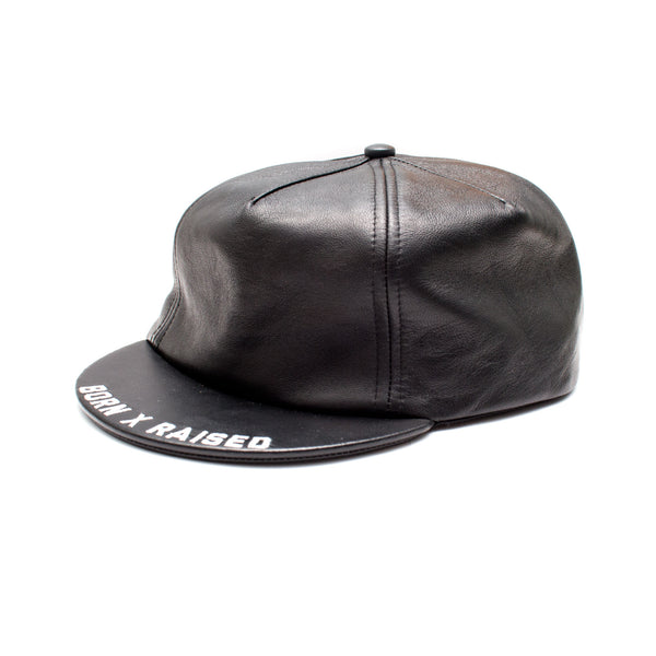 LEATHER BIKER HAT: BLACK