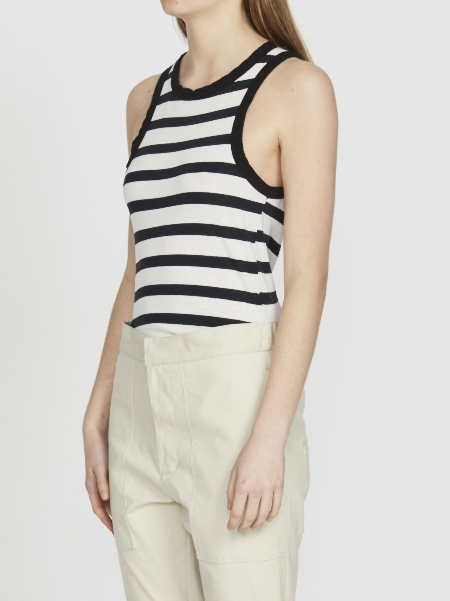 Bassike Womens Tops Bassike | Stripe Fitted Athletic Tank - Undyed/Black
