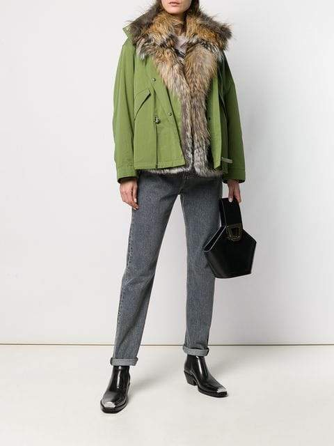 Yves Salomon Womens Jacket JNGLE/GOLD / 32 Yves Salomon | Bachette Fox Jacket - Jungle Green/Gold