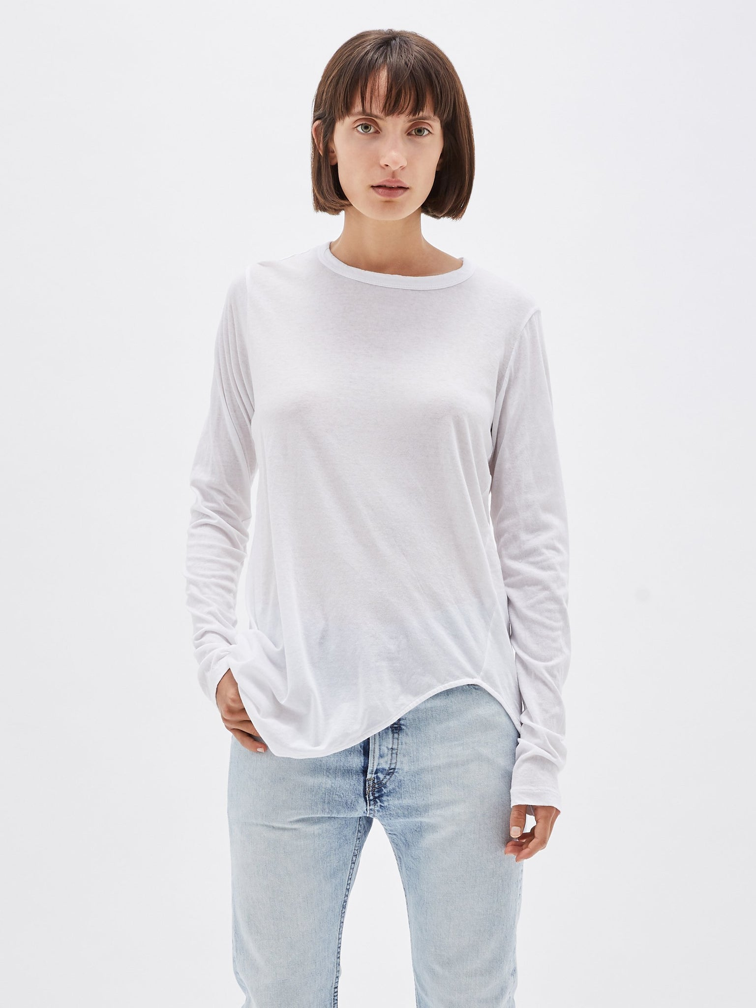 Bassike Womens Tops Bassike | Heritage Scoop Hem Long Sleeve Tee - White