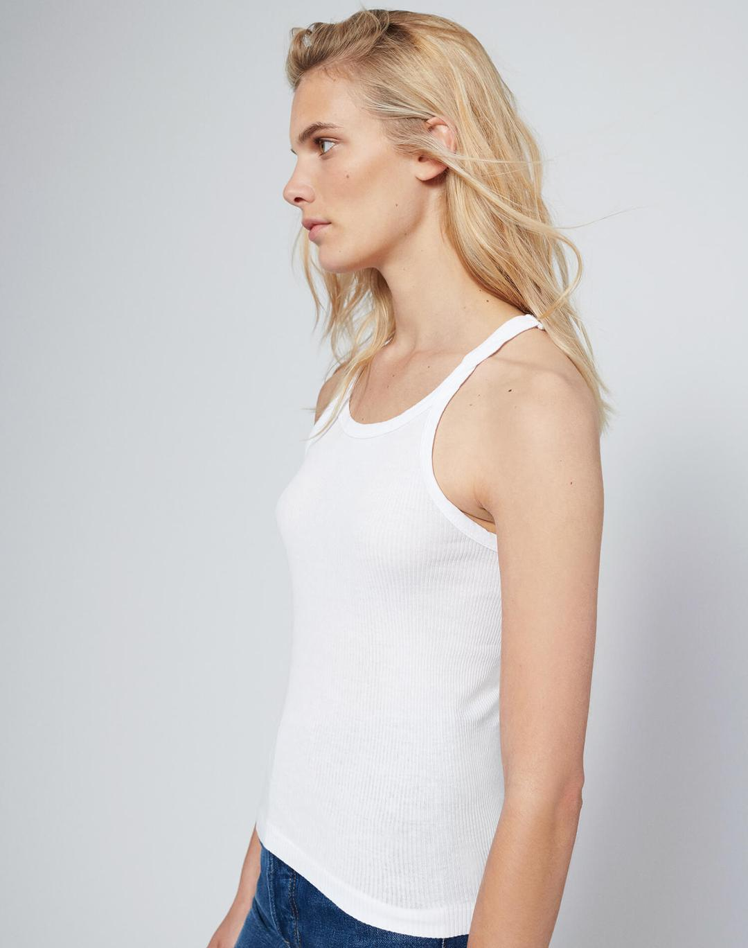 REDONE LLC Womens Singlet RE/DONE | Ribbed Tank - Optic White