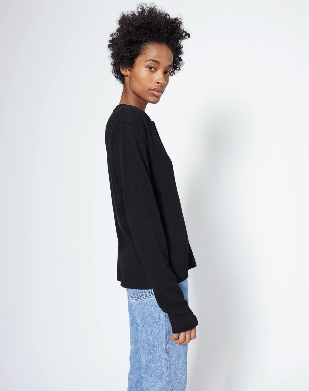 Re Done Womens Tops RE/DONE | Henley Thermal - Black