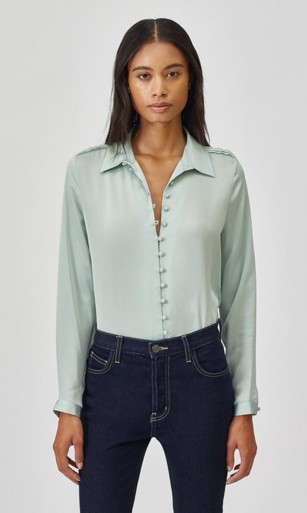Edwards Imports Ltd Womens Tops Equipment | Fleur Shirt - Silt Green