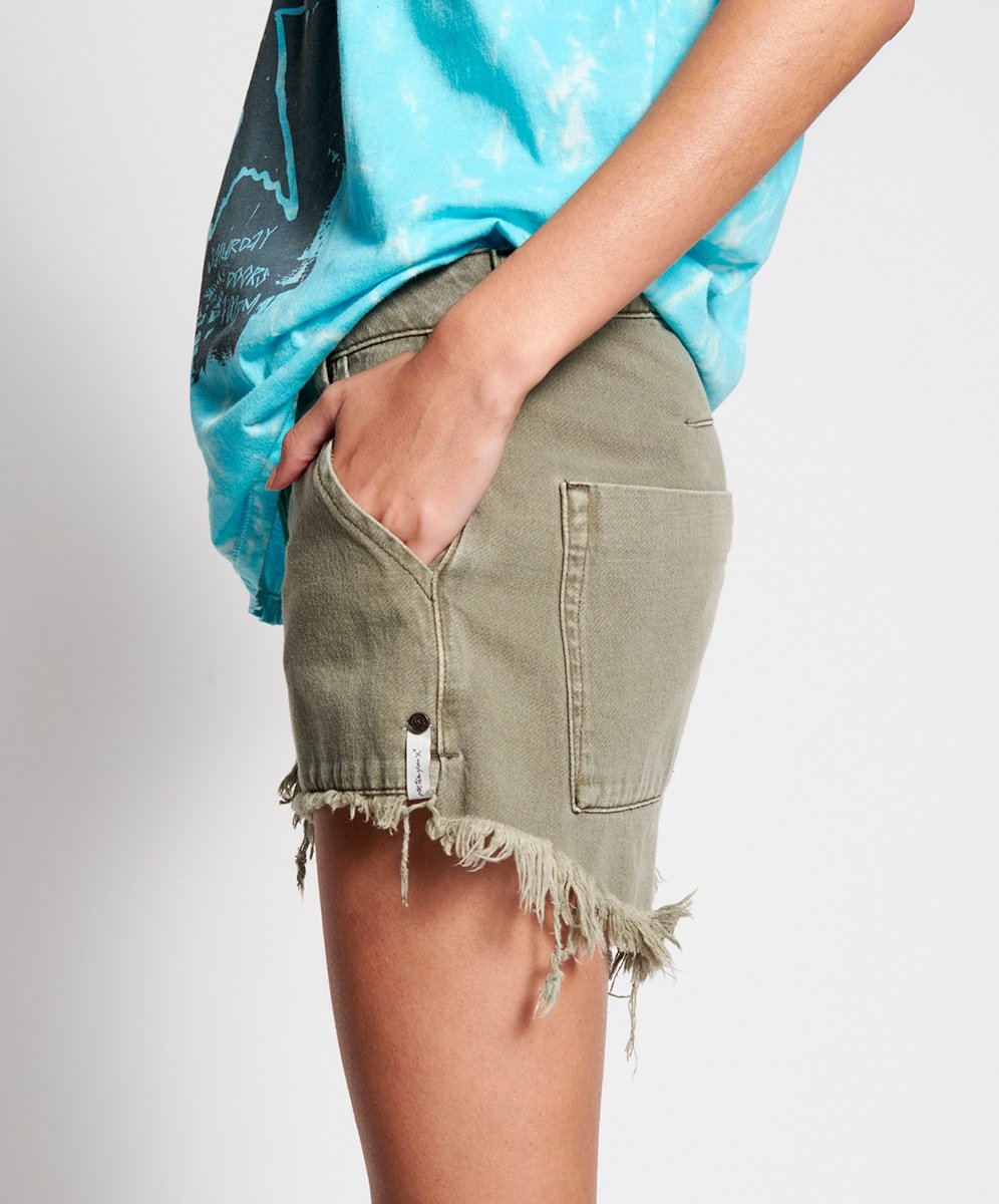 Stem Distribution Limited Womens Shorts One Teaspoon | Cargo Le Wolves  - Vintage Khaki