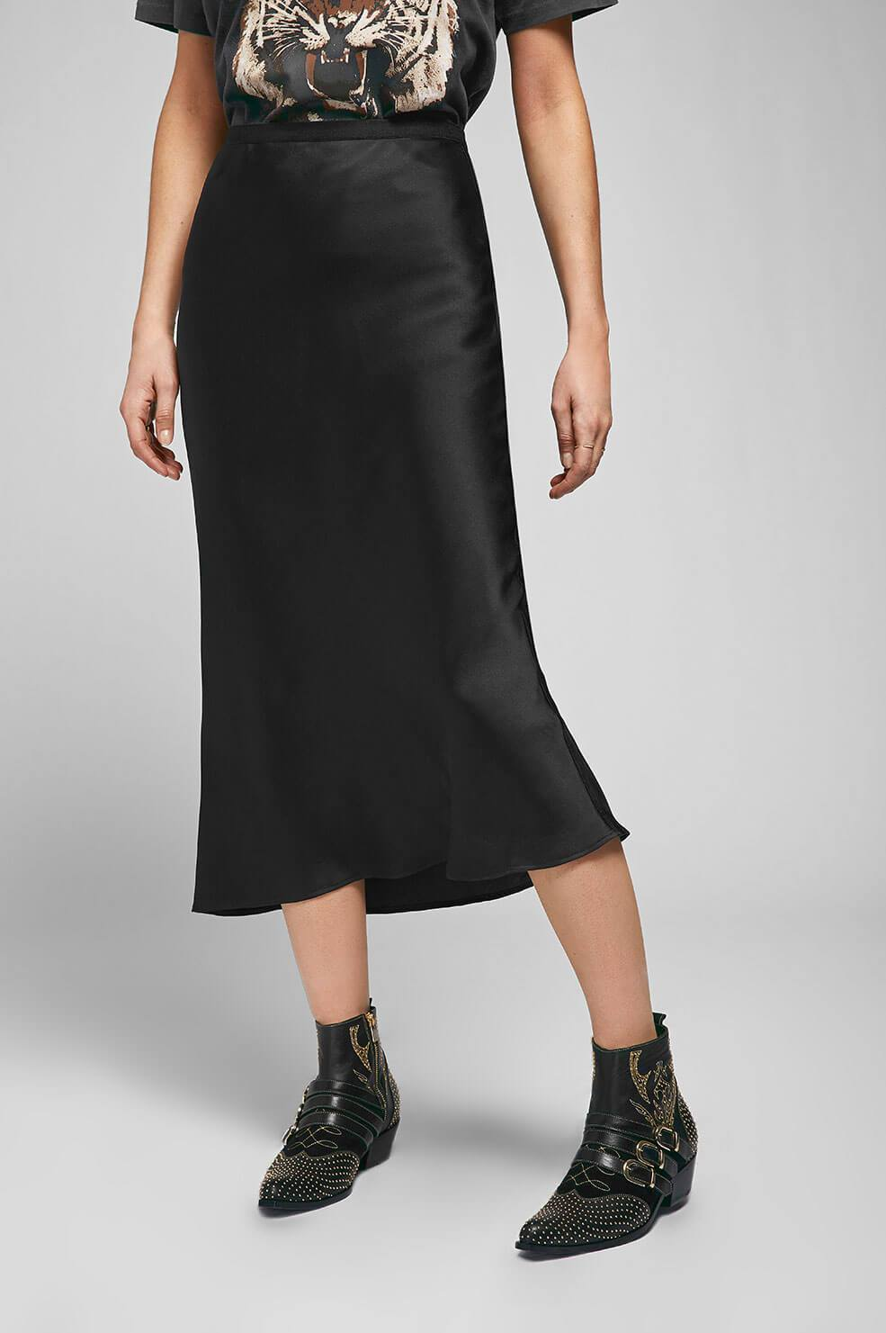 Anine Bing Womens Skirts Anine Bing | Bar Silk Skirt - Black
